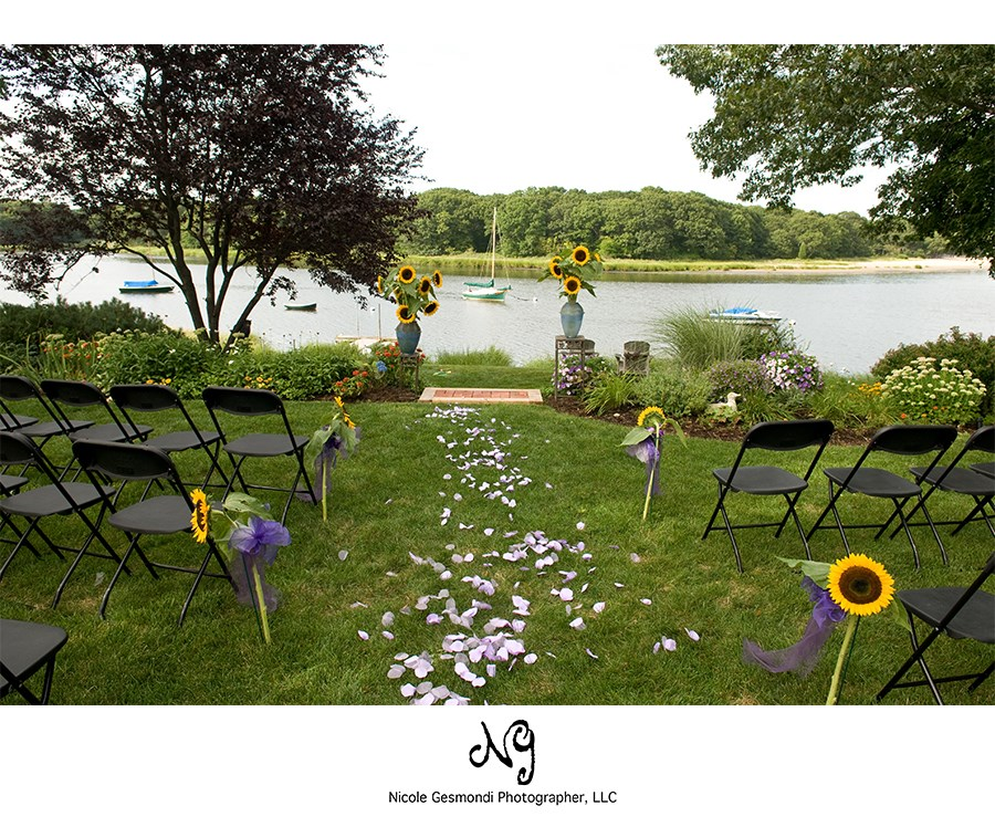 backyard ceremony set-up in Warwick, RI on the water