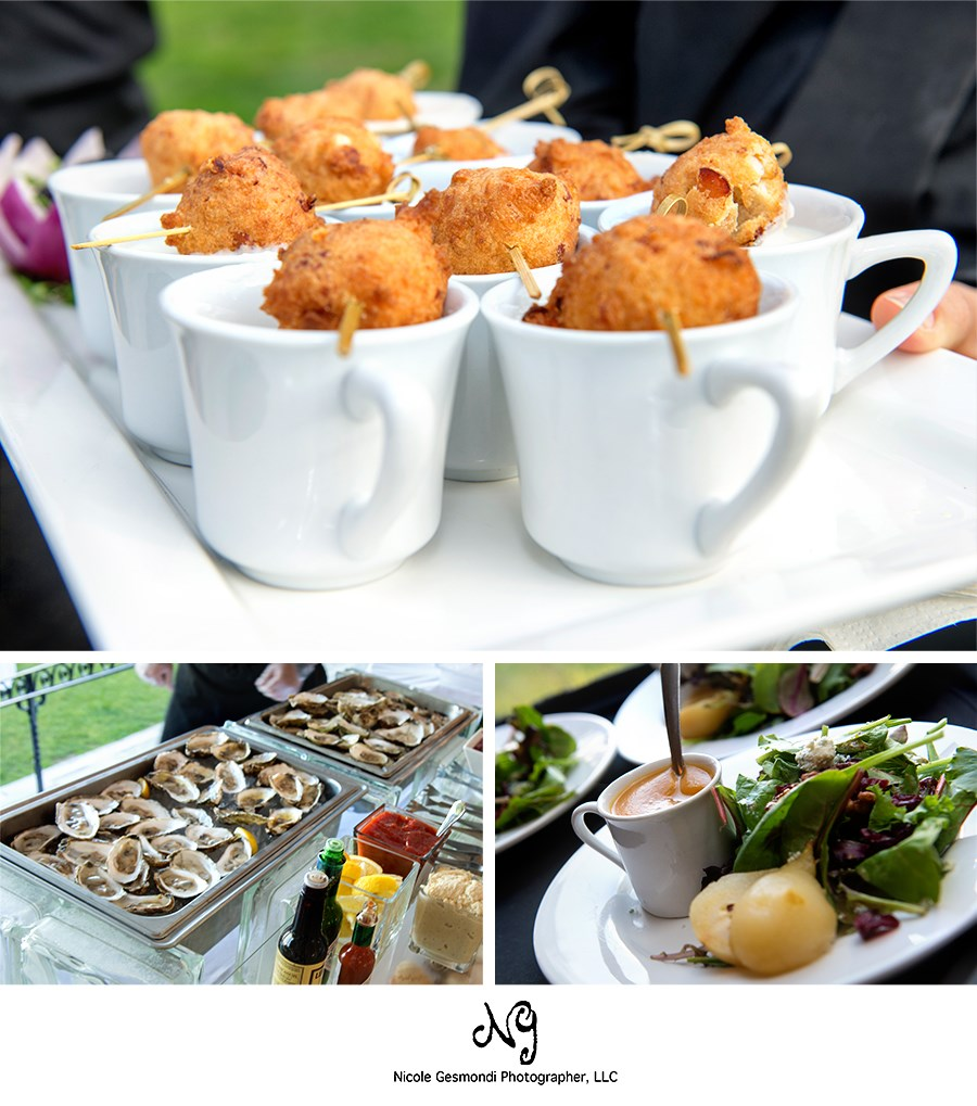 Mouth watering wedding appetizers, raw bar and salad with pears. Delish!