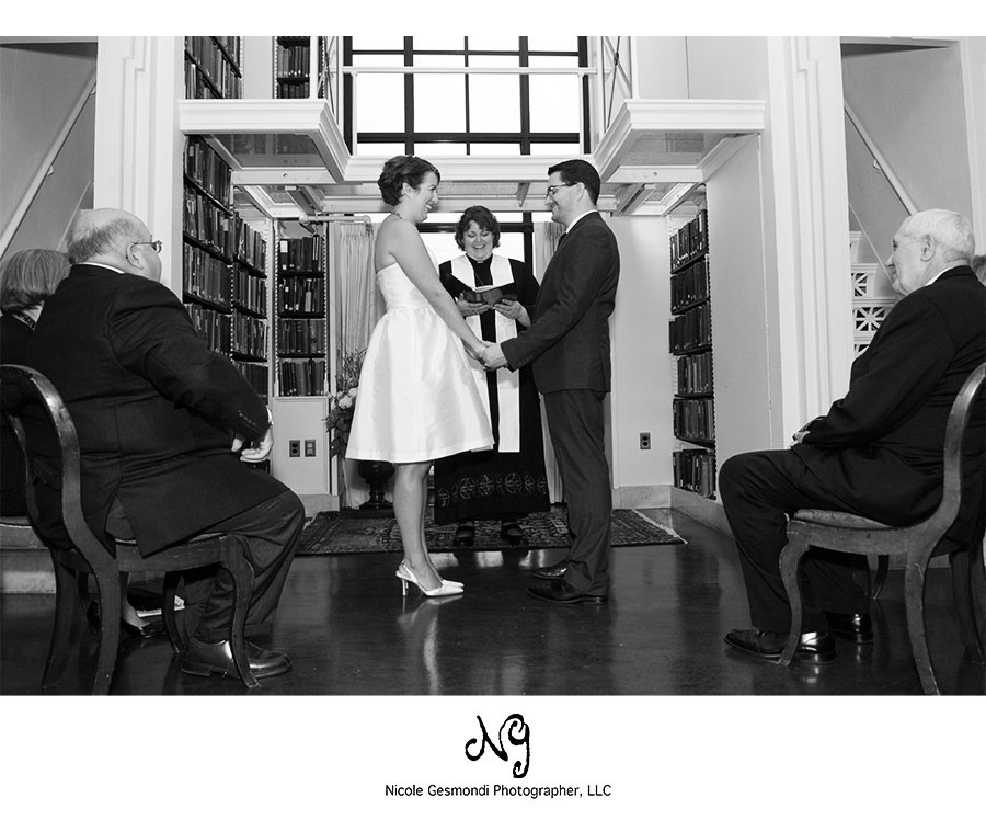 small intimate wedding ceremony at the Boston Athenaeum