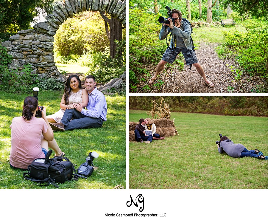 collage of photographers in action during an engagement session