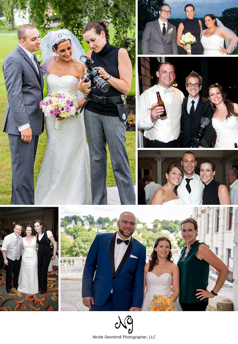 Collage of photos of a wedding photographer with her clients
