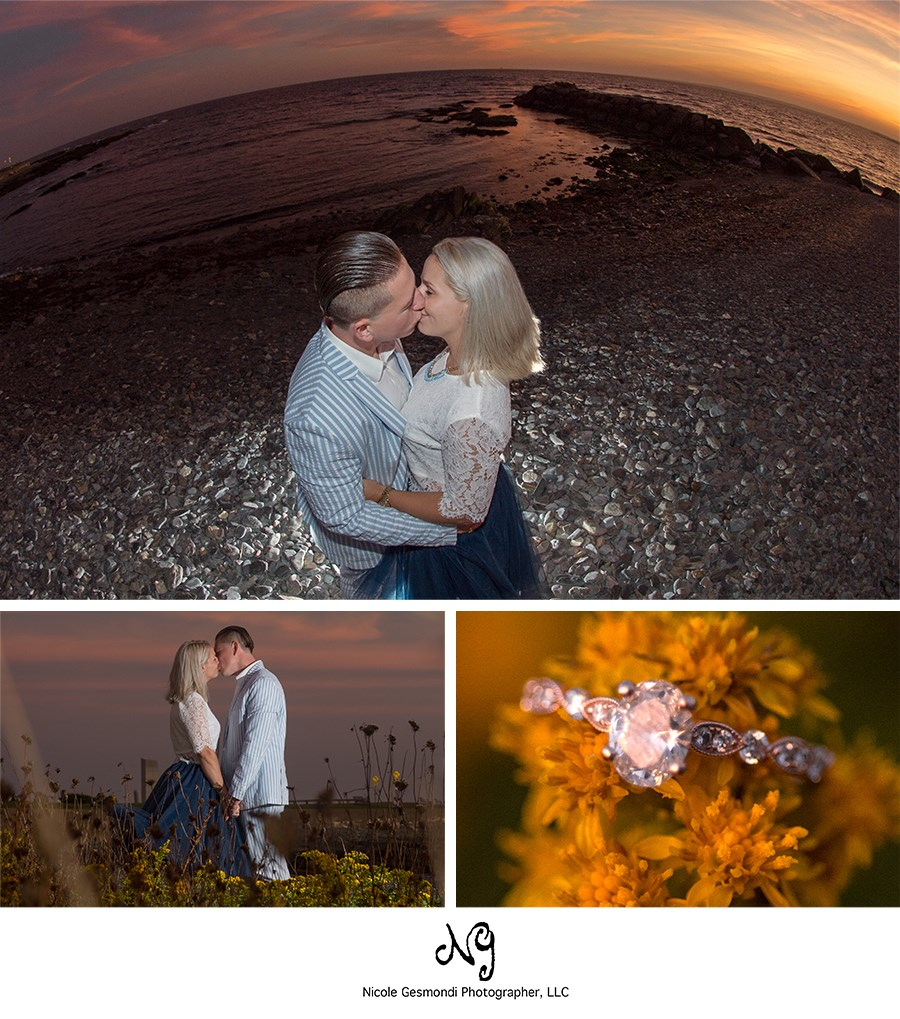 sunset engagement photos in newport, ri
