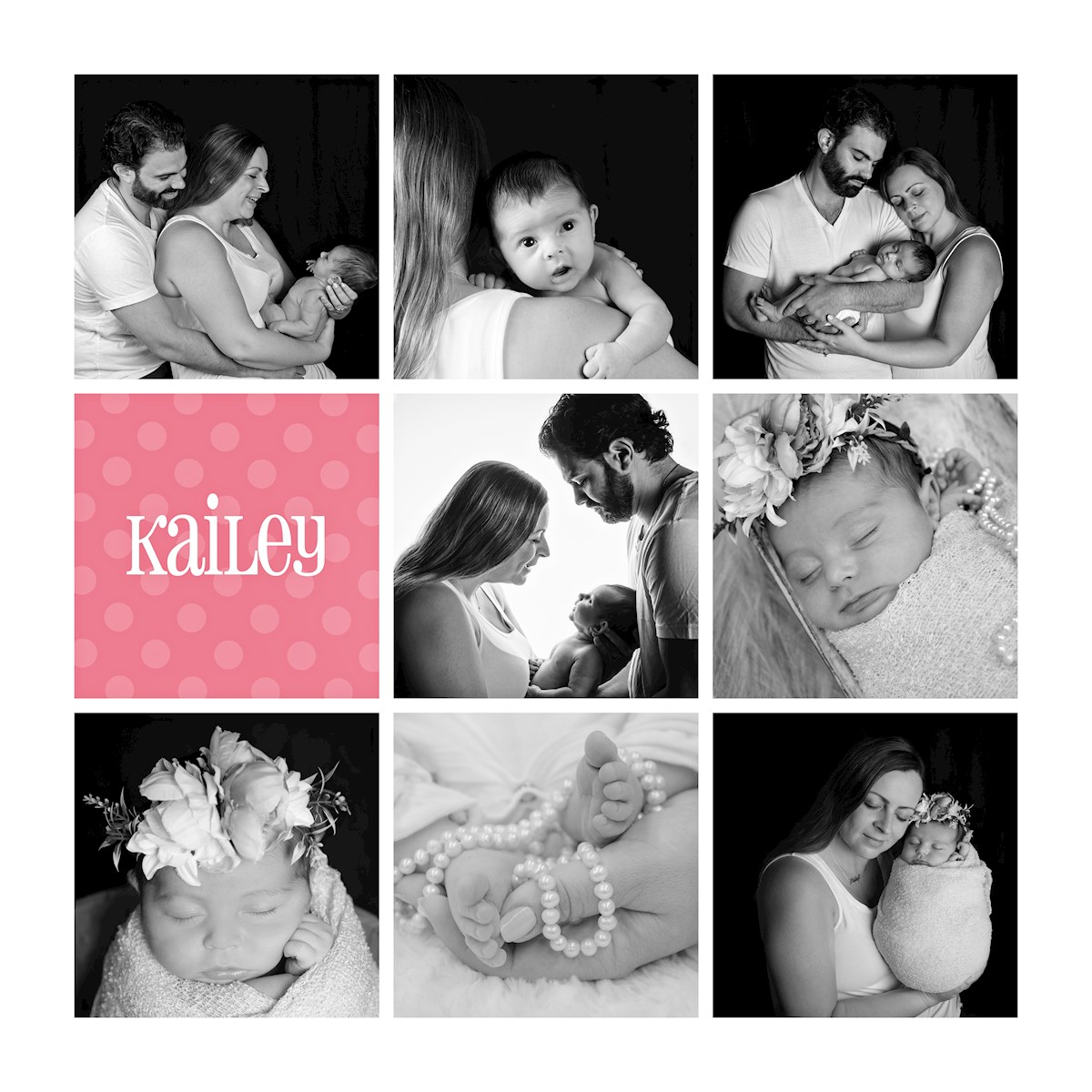 collage of back and white newborn portraits in studio