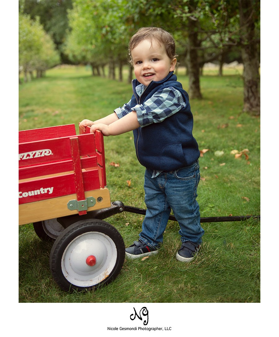 toddler boy holding on to a Radio Flyer red wagon