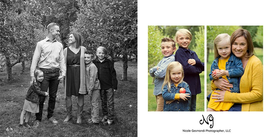 fall themed family photos at an apple orchard